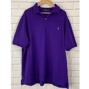 Polo Ralph Lauren Shirt 2XB Pony Purple Collar BIG